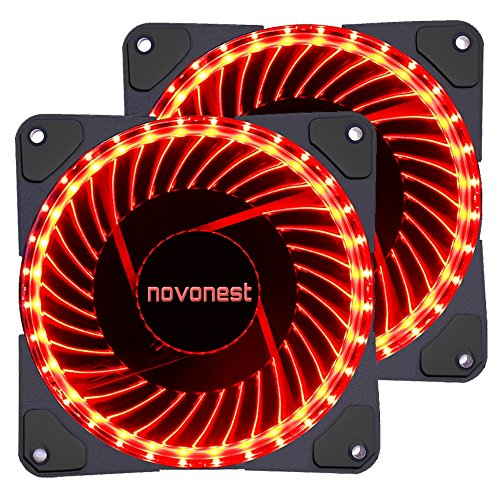 uphere 120mm red LED Silent Fan for Computer Cases, CPU Coolers, and Radiators Ultra Quiet High Airflow Computer Case Fan, Twin Pack