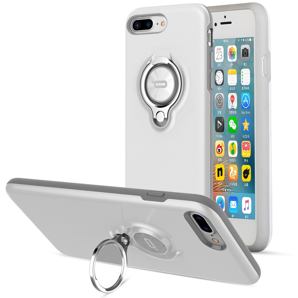 iPhone 8 Plus Case, iPhone 7 Plus Case, ICONFLANG 360 Degree Rotating Ring Kickstand Case Shockproof Impact Protection [Support Magnetic Car Mount Case] iPhone 8 Plus / 7 Plus (2018) - White-Grey