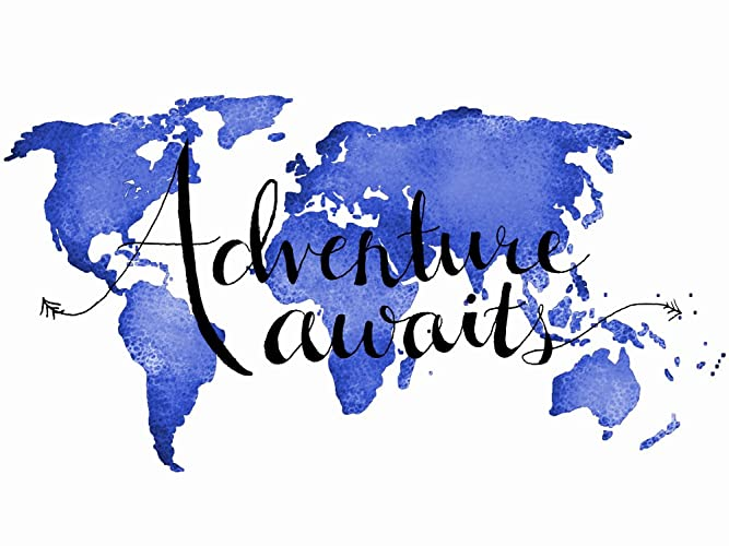 Amazon adventure awaits poster world map poster 18x24 or 24x36 adventure awaits poster world map poster 18x24 or 24x36 inches blue wall art travel poster inspirational gumiabroncs Gallery