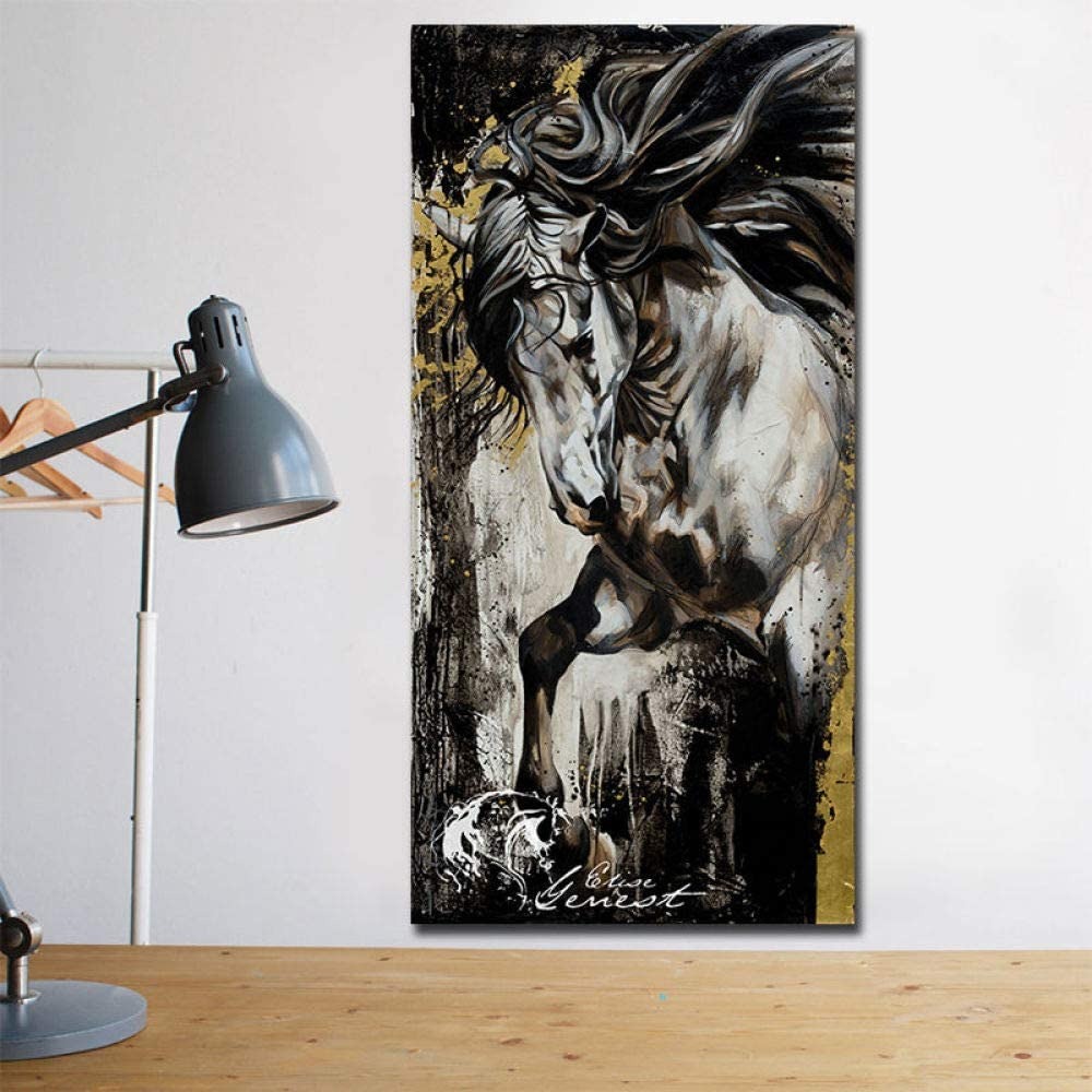 YHZSML Lienzo en Blanco y Negro Pintura de Caballos Decoración para el hogar Carteles e Impresiones Cuadros modulares para Cuadros Decorativos de Pared 60x120cm