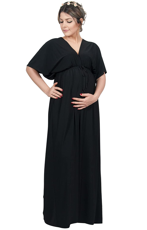 ecc13c562d37 KOH KOH Womens Long Maternity Kimono Sleeve V-Neck Summer Flowy Gown Maxi  Dress at Amazon Women s Clothing store