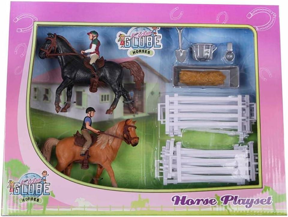 Van Manen Kids Globe Farming 640072 - Juego de 2 Caballos y 2 Jinetes para Jinete, con Accesorios, Multicolor