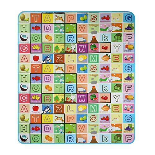 Moroly Baby Play Crawling Mat,Kids Toddlers Foam Floor Game Playmat Encourages Learning,Non-Toxic,Non-Slip,70.2x78x0.2inch (Alphabet and farm) (Mat Baby Travel Play)