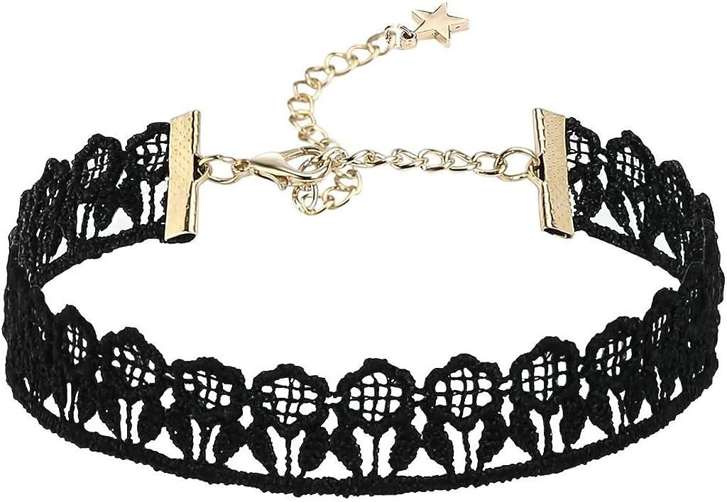 Beydodo Collar de Mujer Acero Inoxidable Choker Collares para Mujer y Chicas Simple Flor Choker Encaje Oro Negro 2x30CM