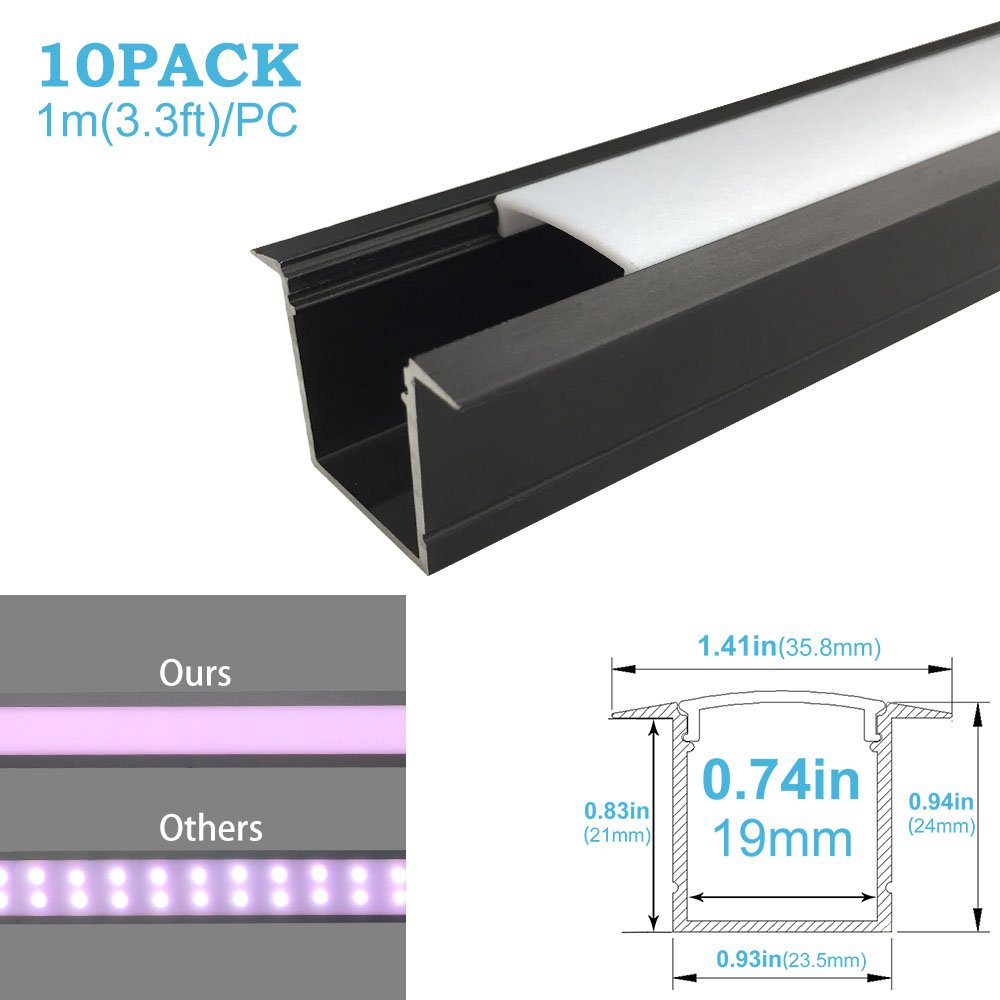 inShareplus U Shape LED Aluminum Channel System With Milk White Cover, End Caps and Mounting Clips, Aluminum Profile for LED Strip Light Installation, U05 Model, 10 Pack, 3.3ft/1 Meter, Black