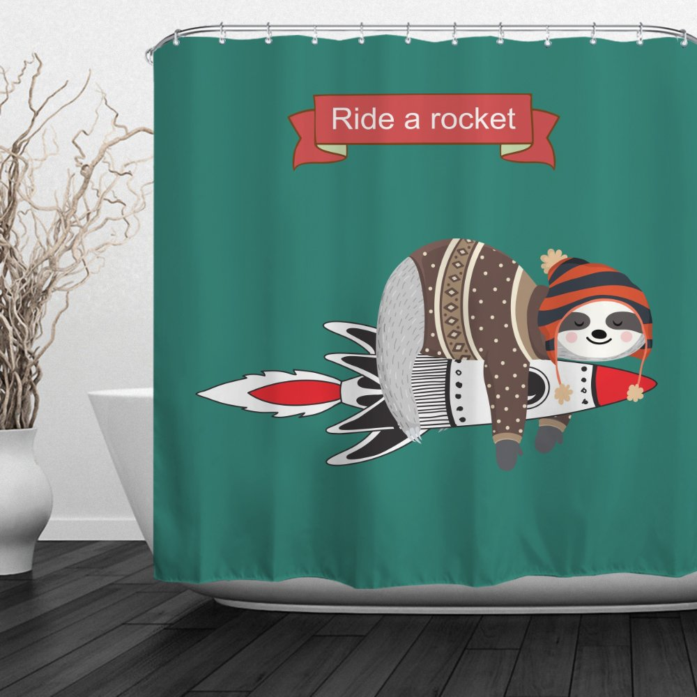 QiyI Sloth Shower Curtain Mildew Resistant,Anti-Bacterial,No Any Chemical Odor,Silky 100% Polyester Fabric,Easy to Rinse Off and Hang for Bathroom 60