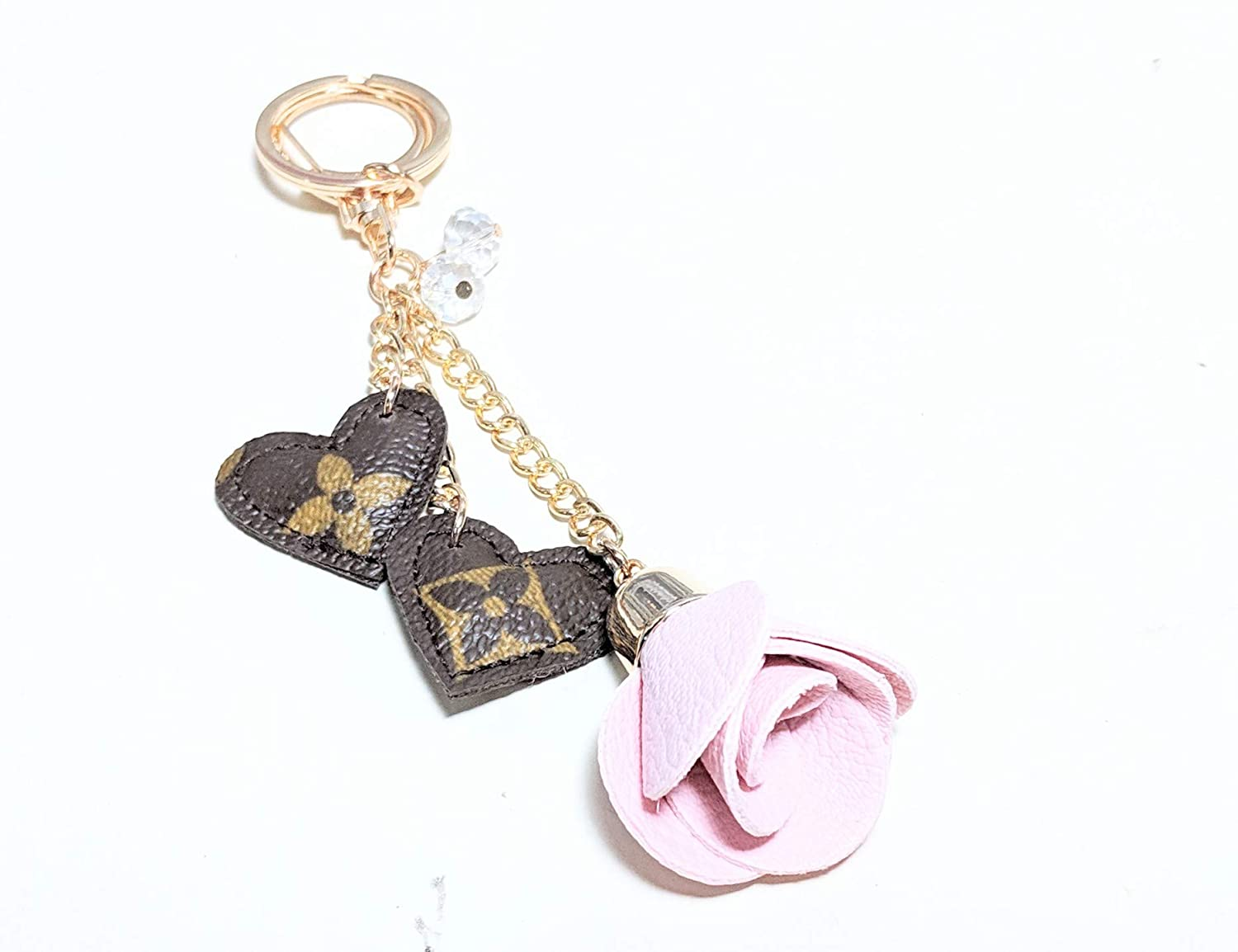 5f30c13035f Amazon.com  Handcrafted Keychain with upcycled and repurposed authentic LV  monogram canvas-please read item description before you make your purchase   ...