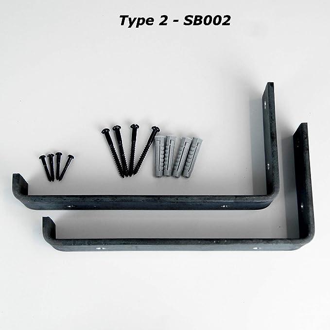 Industrie-Metallregal robust schwarz Regalst/ützen aus Stahl zur Wandmontage 2 St/ück
