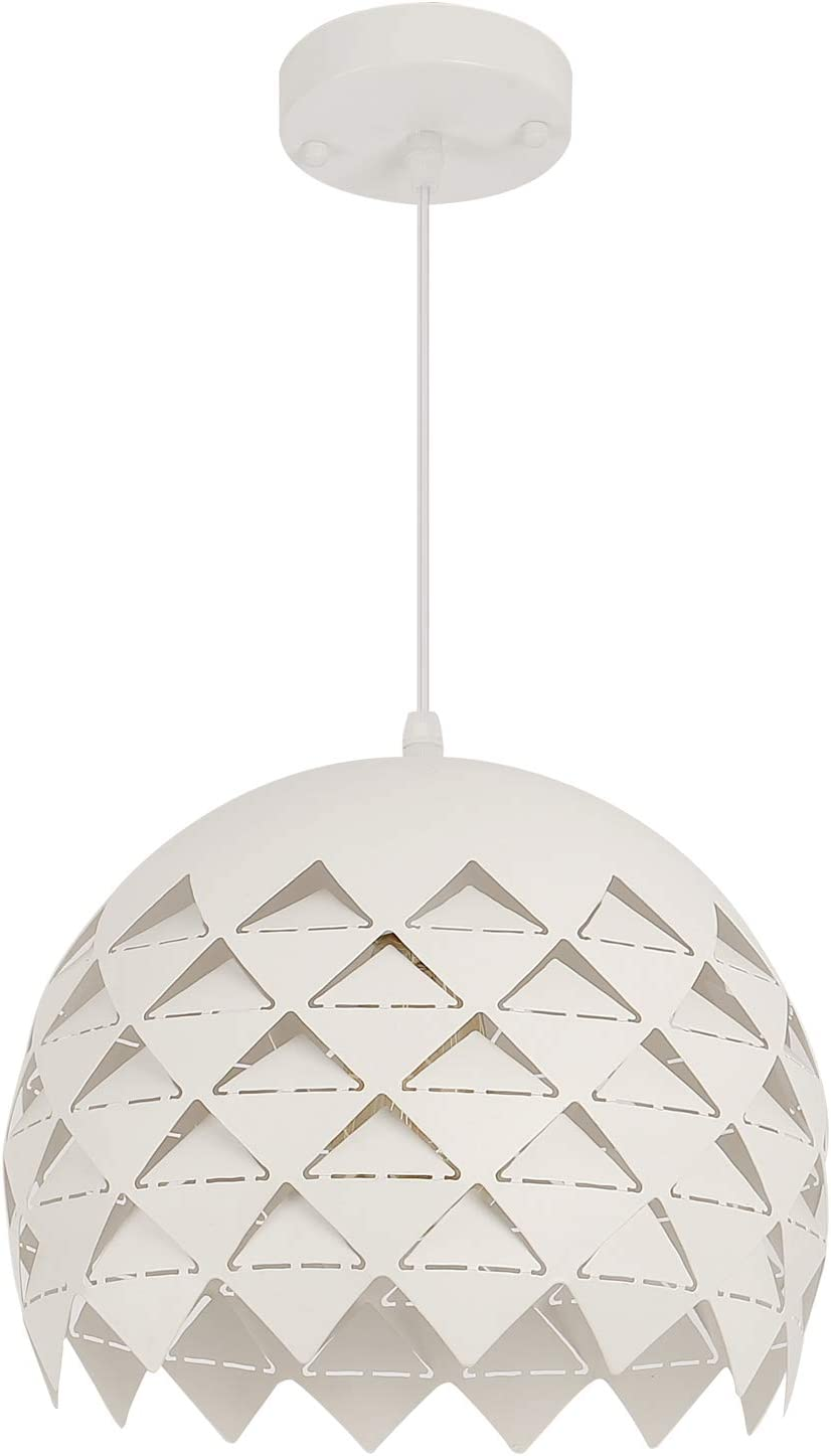 Modern White Pendant Lighting with Porous Metal Lampshade, 11.8 , One-Light Dome Hanging Ceiling Light Fixture for Kitchen Island Dining Room Foyer Table Bedroom, White
