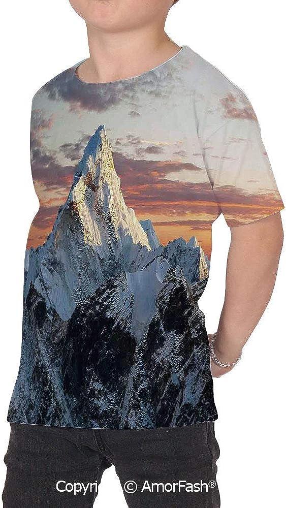 PUTIEN Apartment Decor Crew Neck for Ultimate Comfort T-Shirt,Evening of S