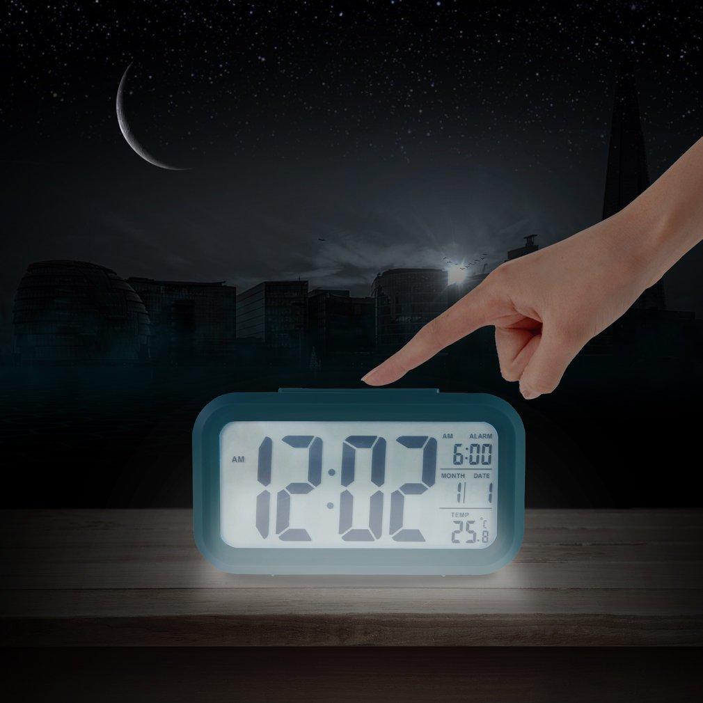 FairytaleMM LUMINOVA quadratische Form LED-Anzeige Digitale elektronische Wecker Hintergrundbeleuchtung Temperaturregelung Zeit Kalender + Thermometer, blau
