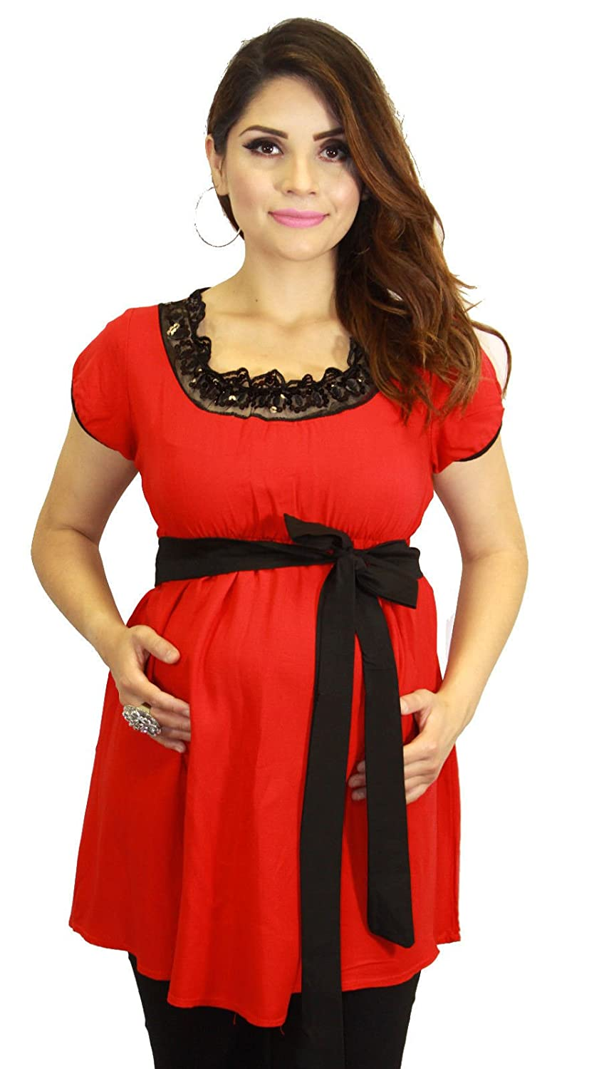 Short Sleeve Red Maternity Pregnant Clothing Black