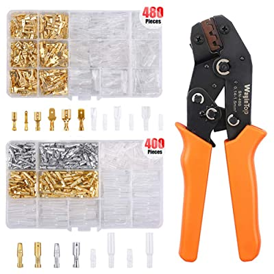 WayinTop Wire Terminal Crimping Tool Kit, 26-16AWG Ratcheting Crimper 0.14-1.5 mm²+ 480pcs 2.8/4.8/6.3mm Wire Spade Connector Terminals + 400pcs 3.9mm Male Female Bullet Terminals Wire Connector Kit: Home Improvement