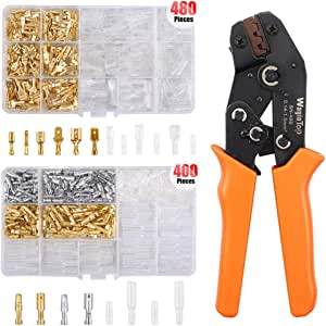 WayinTop Wire Terminal Crimping Tool Kit, 26-16AWG Ratcheting Crimper 0.14-1.5 mm²+ 480pcs 2.8/4.8/6.3mm Wire Spade Connector Terminals + 400pcs 3.9mm Male Female Bullet Terminals Wire Connector Kit
