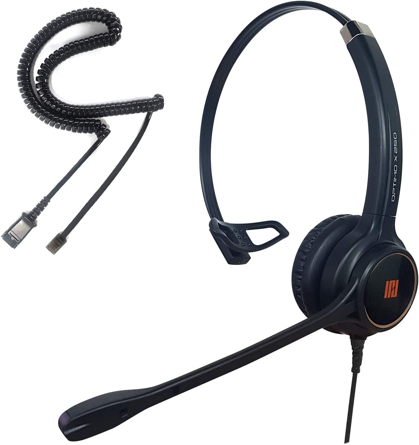IPD IPH-250 Optimo-X Single Ear Noise Cancelling, Corded Headset for Call Center,Office and Landline Phones w U10P Bottom Cable w RJ9 Jack Works with Poycom VVX,Avaya,Nortel, Mitel and Many IP Phones
