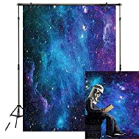 MME 5x3Ft Galaxy Backdrop Stars Sky Background Dark Blue Halo Glitters Stars Purple The Earth Props Photo Studio LXME054