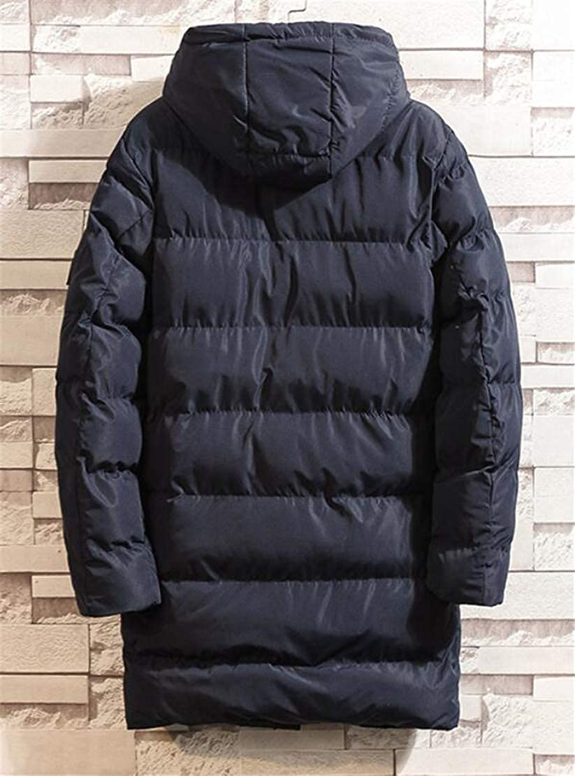 Zantt Mens Hooded Stand Collar Quilted Outdoor Thicken Long Down Jacket