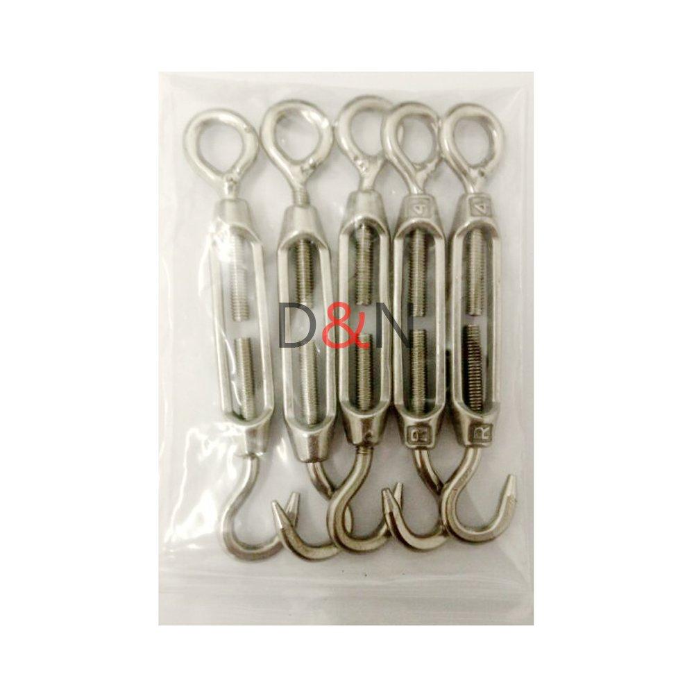 DN M4 Edelstahl 304 Hook & Eye Spanner Seilspann Packung mit 5 Stück ...