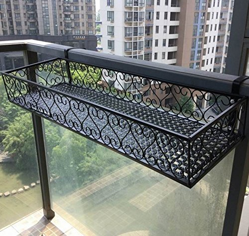 LYQZ Railings Flower Racks, Full Pattern Increase European Style Balcony Suspension Iron Flower Pot Rack Black Stable Strong Save Space (Size : 10030 cm)