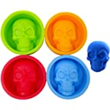 Honbay 4PCS Halloween Skull Head Silicone Molds for Soap, Ice Cubes, Chocolate, Candy, Cake, Jelly, etc