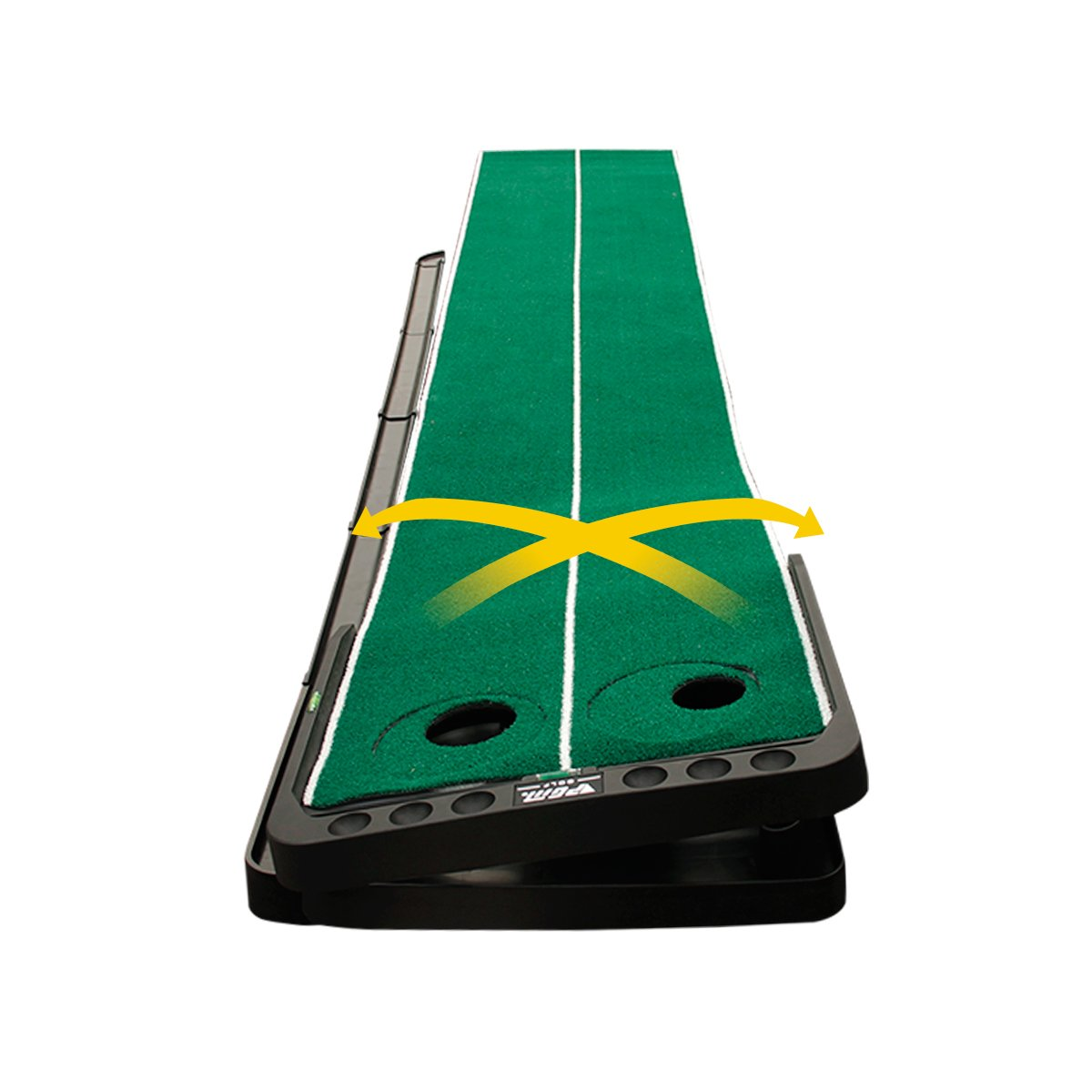 Uboway Indoor Golf Training Mat Putting Green System with Adjustable Two Rotating Holes Automobile Ball Return System for Golfer 1.6 x 10 Ft