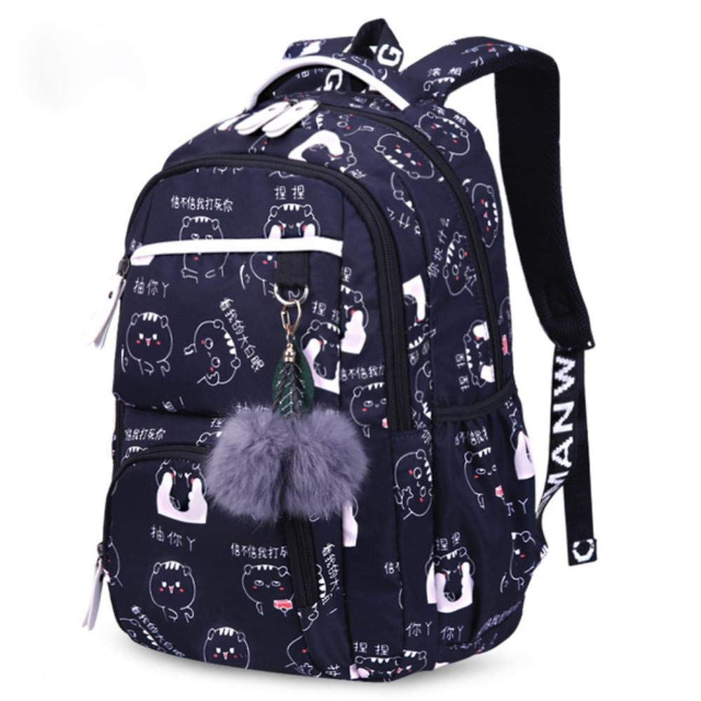 Fashion Breathable Backpack, Beautiful Flowers Printing School Backpack for Kids Big Capacity Children School Bags for Girls Plush Ball Gift Bag 17.7x12 Inch by Boris Felix