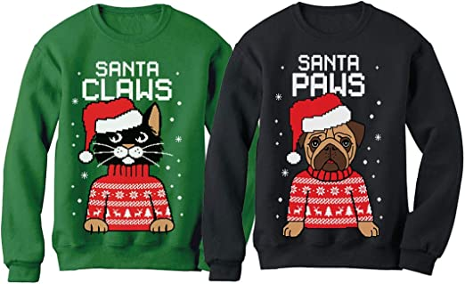 Ugly Christmas Sweater Mens Santa Claws Cat Pullover Sweater