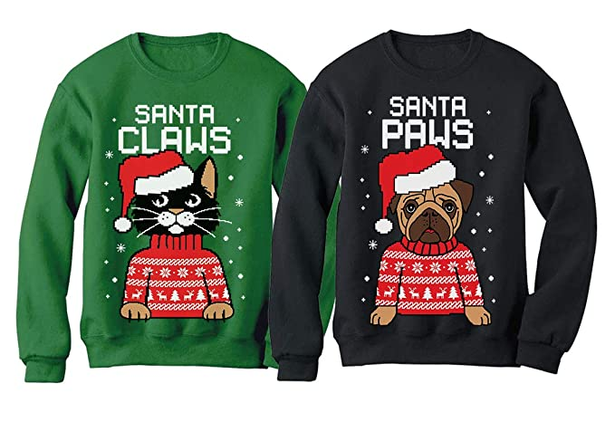 528439bd3c9d Santa Paws Santa Claws Ugly Christmas Sweater Sweatshirt Matching Couple Set  Claws Green Large Paws