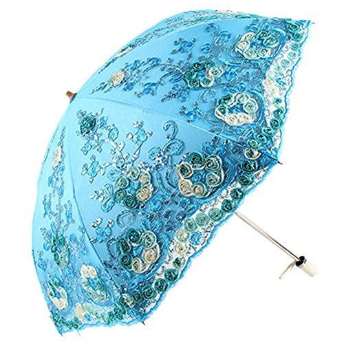 Honeystore Wedding Lace Sun UV Parasol 2 Folding 3D Flower Embroidery Umbrella - Sunnies Australia Cheap