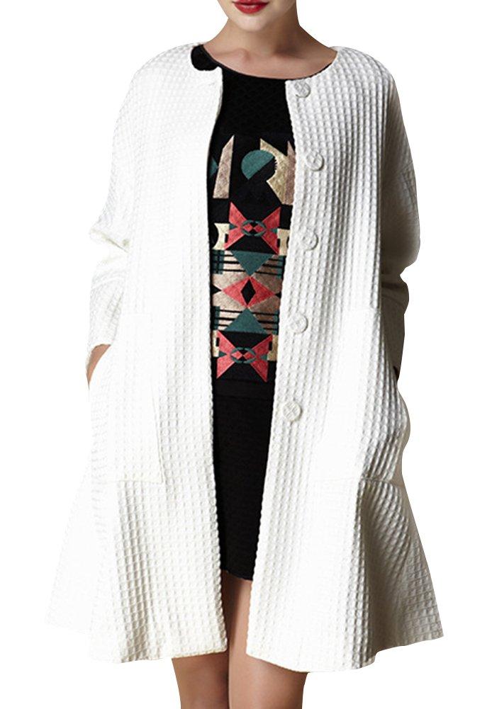 Generic Women's Winter Long Style Coat Size S White