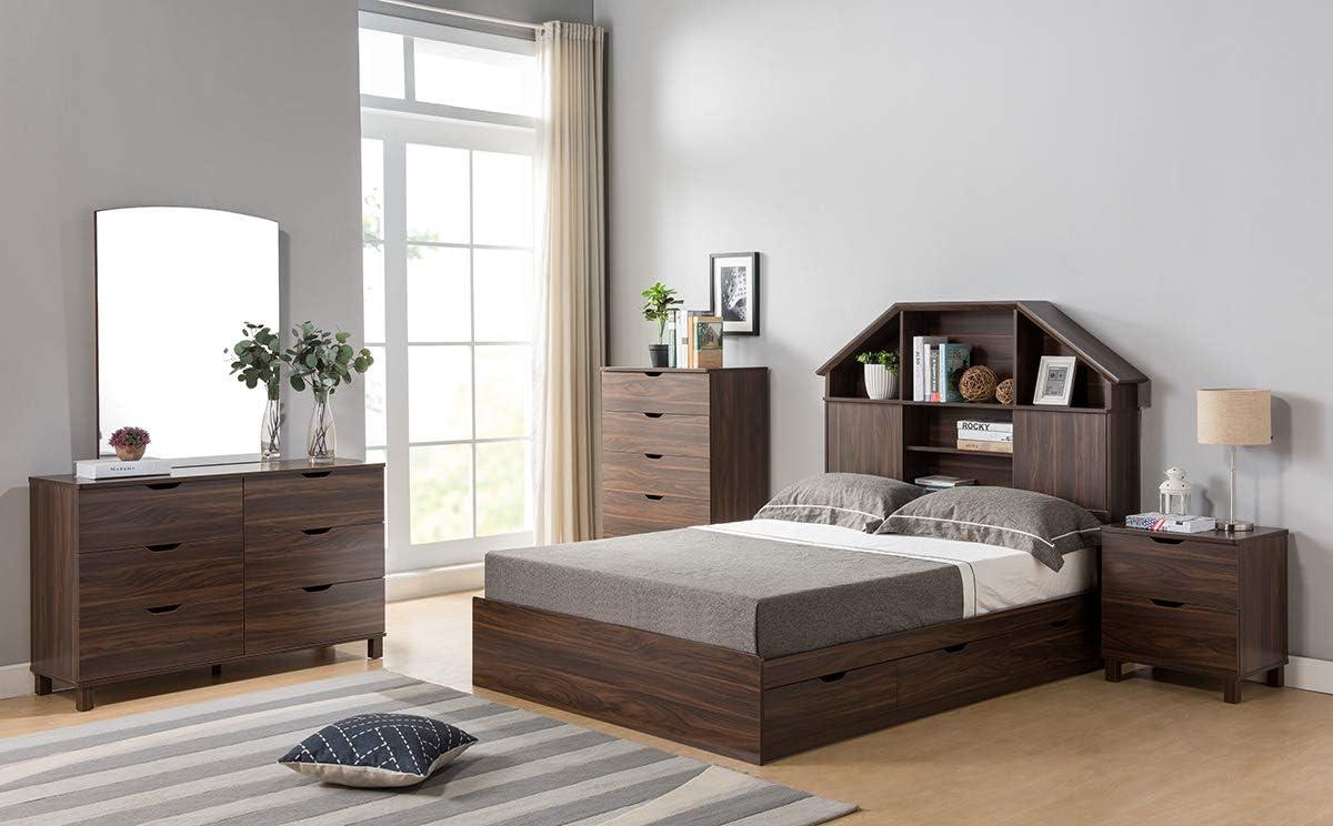 Q-Max CID11Y1504 Contemporary Styled 6 Drawer Dresser Chest on Finishes Dark Walnut