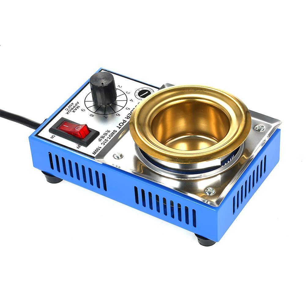 150W 220V 50mm 500g Mini olla de soldadura sin plomo Recubrimiento de titanio Olla de soldadura de acero inoxidable Ba/ño de soldadura de temperatura compacta ajustable para soldadura y soldadura
