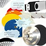 4'' Diamond Polishing Pad 16 Pieces Free Aluminum Backer How to Fabricate Granite countertop DIY Undermount sink video DVD / USB stone marble terrazzo masonry countertop tile floor travertine