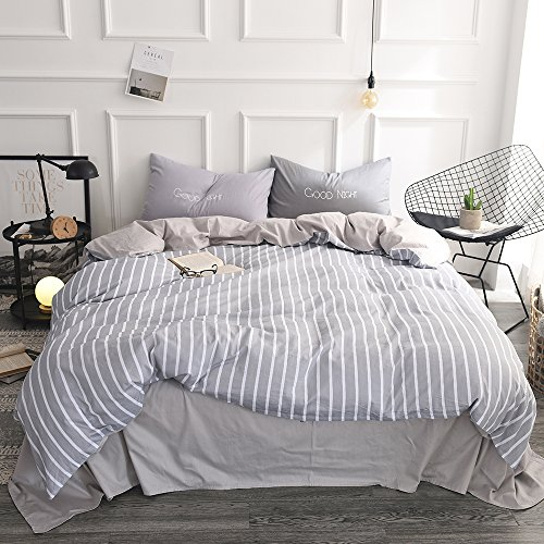 Bedding Set King Cotton Microfiber White Vertical Striped Duvet Cover Set, 2 Pillow Covers, Gray Pattern (Neutral Stripe)