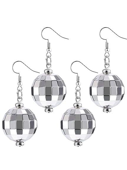 7fa5d8d09f64e Tatuo 2 Pairs of Disco Ball Earrings 60's or 70's Silver Disco Ball ...