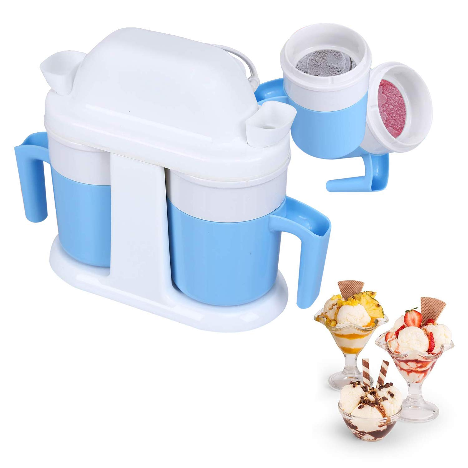 Webat Ice Cream Maker, Double Bowls Homemade Ice Cream Frozen Yogurt Sorbet Machine with Timer Function Double Bowls Mixing Paddles-0.86 Pints, Blue