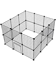 CYY 24 Panels Pet playpen for Small Animal Portable DIY Puppy Kennel Metal Grid Cage with Door and Cable Tie Indoor Outdoor Exercise Pen Play Yard for Guinea Pig Cat Rabbit Ferret Bunny, Black