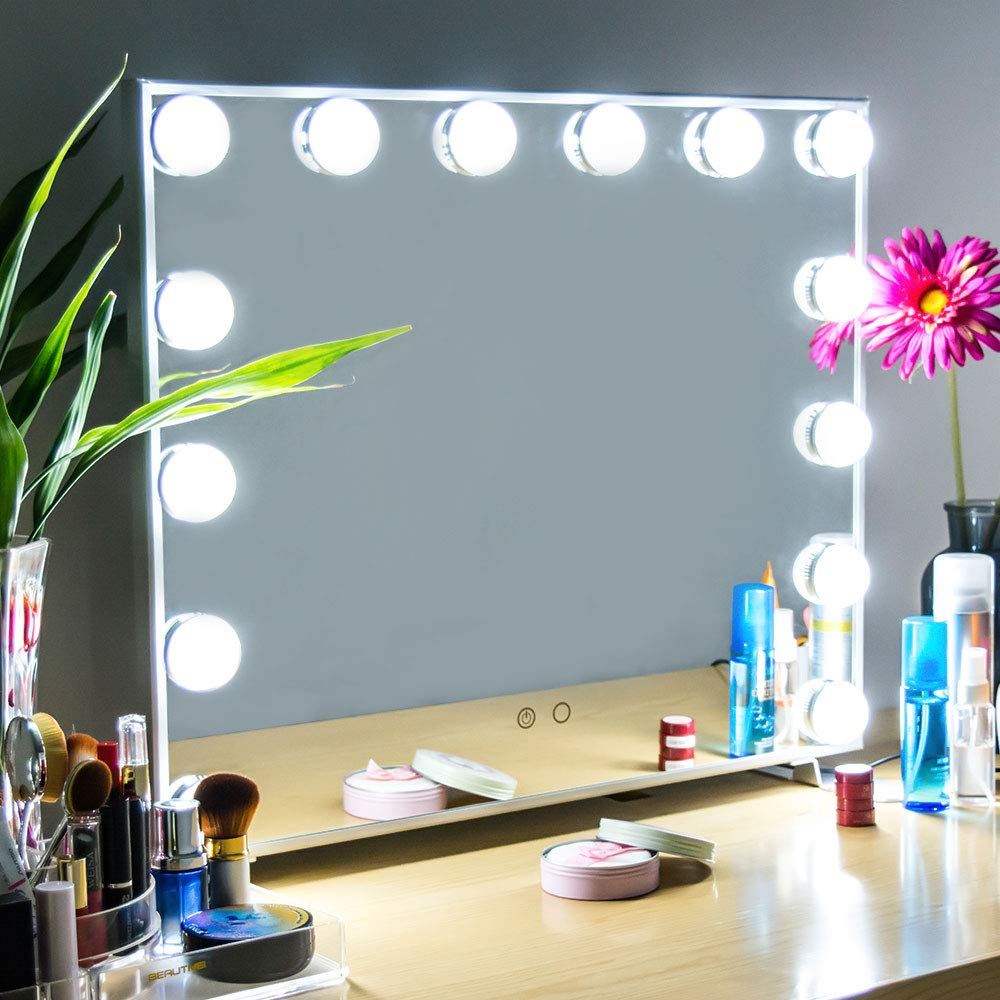 Hollywood Vanity Mirror with Lights, Okloy Hollywood Light Mirror, Large Cosmetic Makeup Mirror ,14 Dimmable Replaceable LED Bulbs, Touch Control Design,Tabletop Wall Mounted Mirror -Silver