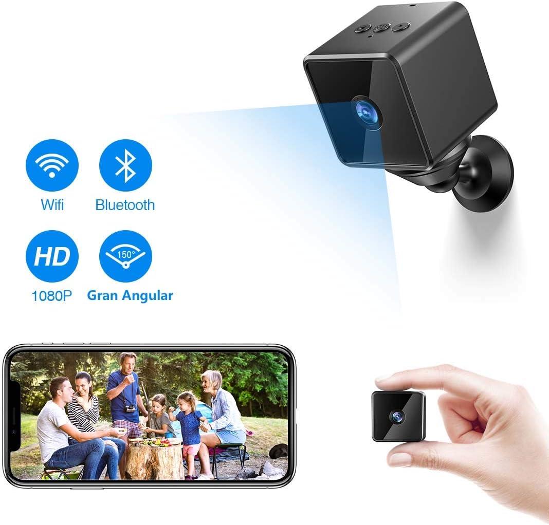 Mini Camara Espia Oculta Bluetooth, MHDYT WiFi HD 1080P Cámara Vigilancia Portátil con Altavoz Bluetooth, Sensor Movimiento, Visión Nocturna, IP Camara Seguridad Inalambrica Micro Interior/Exterior