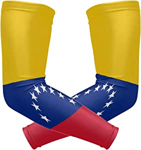 ZZKKO Venezuela Flag Cooling Arm Sleeves Cover Uv Sun Protection for Men Women Running Golf Cycling Arm Warmer Sleeves 1 Pair