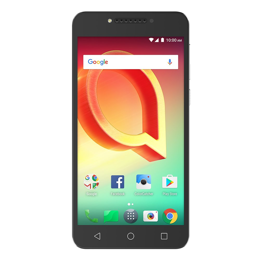 Alcatel A50 (16GB) 5.2'' HD Screen, Front-facing Flash, and Android 7.1 Nougat GSM Factory Unlocked, US Warranty [Metal Silver]