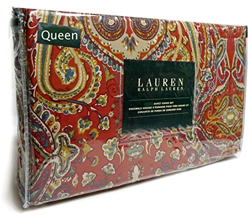 Ralph Lauren Red Blue Green Boho Paisley 3pc Queen Duvet Cover and Shams Set Floral Paisley Medallions (Lauren Set Duvet Ralph)