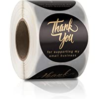 """2"""" Thank You for Supporting My Small Business Stickers, 4 Designs Golden Font, Round Labels for Business, Online Retailers, Boutiques, Shops to Use on Bags, Boxes and Envelope, 500 Labels Per Roll"""