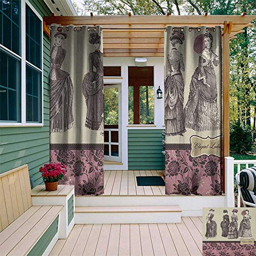 leinuoyi Victorian, Outdoor Curtain Extra Wide, Ladies Clothes Fashion History Dress Handbag Feather Gloves Floral Design Print, Fashions Drape W120 x L96 Inch Grey Rose