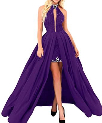 Sexy Hater High Low Prom Dress For Women 2018 Long Backless Formal Evening Dresses Purple US2