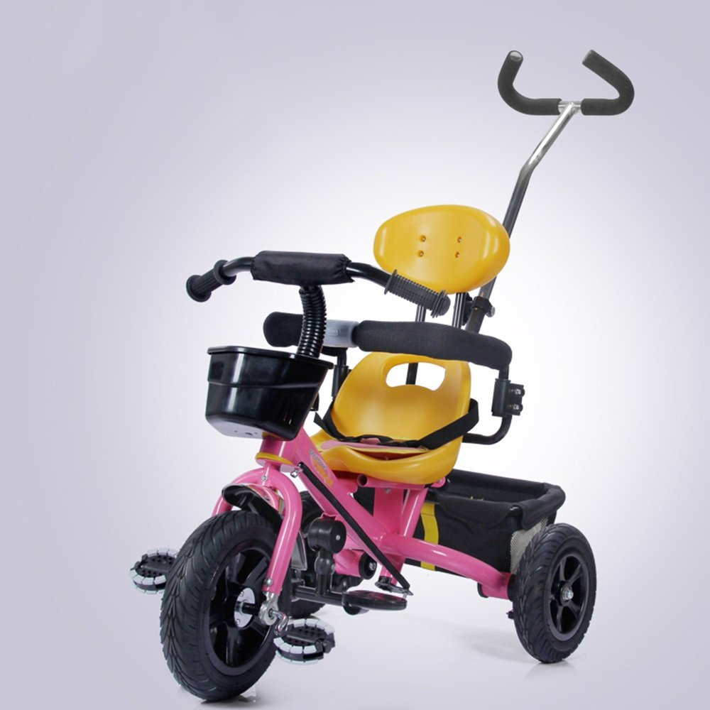 Carrito del bebé, Bicicleta Inflable del Niño, Triciclo de los Niños, Bicicleta, Carro de bebé (Color : Pink)