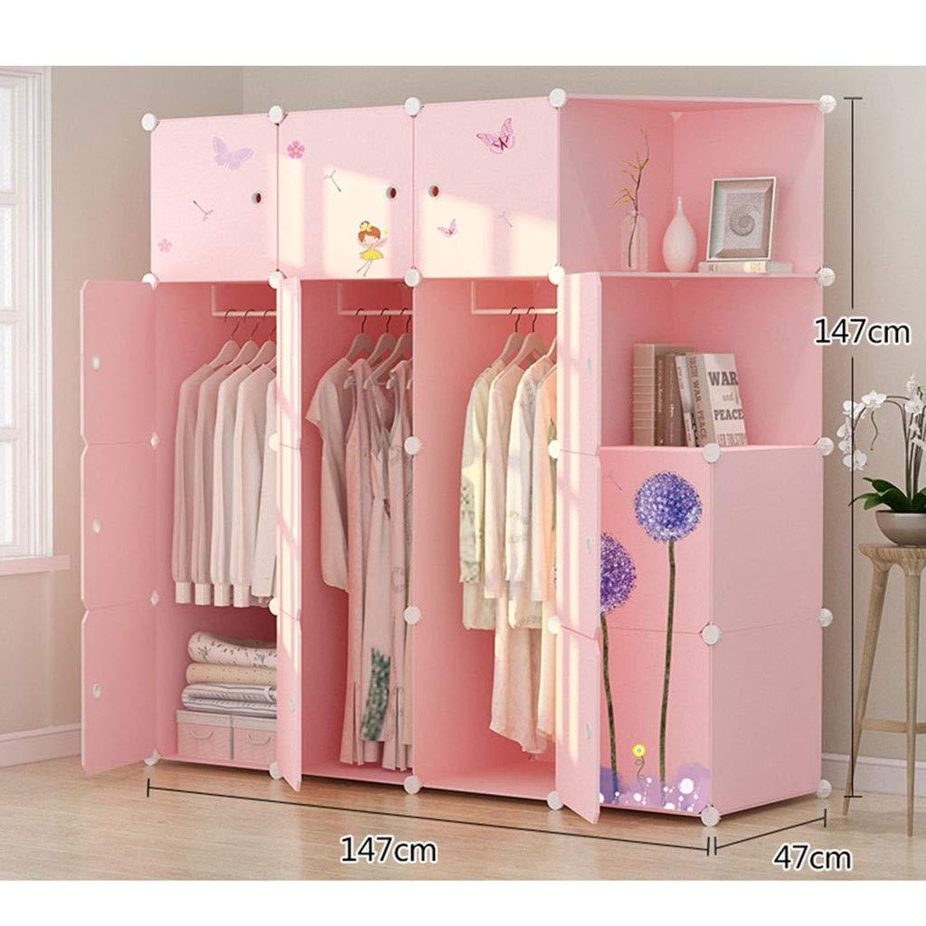 PPKQ Large Portable Wardrobe Storage Closet Clothes 4 Side Pockets,Pink Wardrobe Closet Organizer (Size : A) by PPKQ