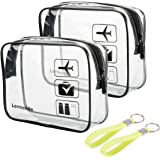 2pcs/pack Lermende Clear Toiletry Bag TSA Approved Travel Carry On Airport Airline Compliant Bag Quart Sized 3-1-1 Kit…