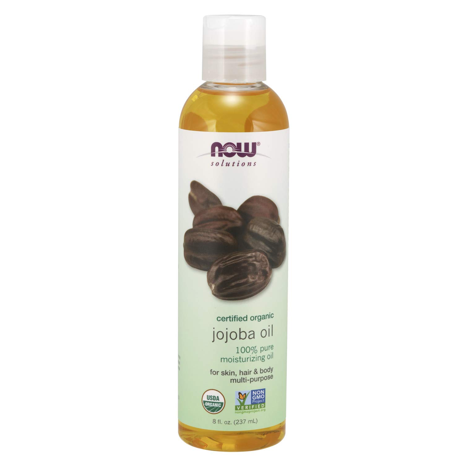 Now Solutions, Organic Jojoba Oil, Moisturizing Multi-Purpose Oil for Face, Hair and Body, 8-Ounce by NOW Foods