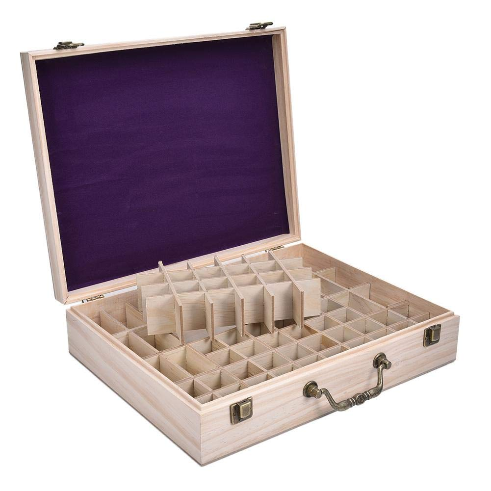 Essential Oils Storage Wooden Box - with 68 Slots for 5, 10, 15ml,115ml Bottles, Essential Oils Wooden Case Perfect for Display & Presentation by Wind-Susu